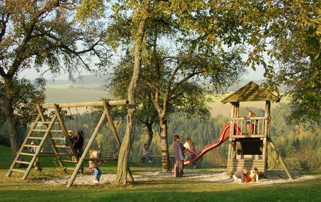 Playground in an idyllic ambience Stock Photo