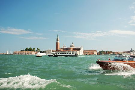Motorboat in front of San Giorgio Church Stock Photo - 5961390