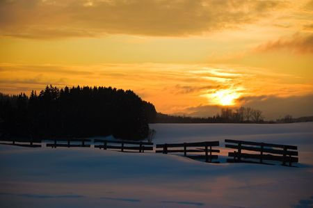 Golden Winter Landscape in Upper Austria Stock Photo - 6003966