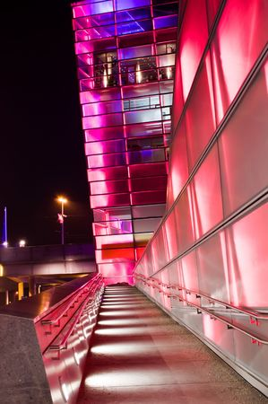 electronica: Red shiny futuristic Building in Linz (Capital of Upper Austria)