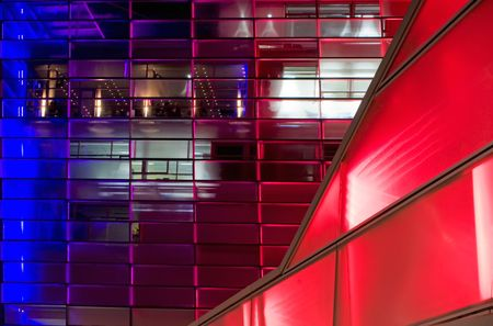 linz: Red and blue shiny modern Building in Linz