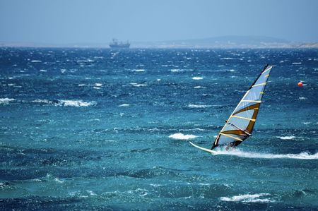 Windsurfing in the Open Sea Stock Photo