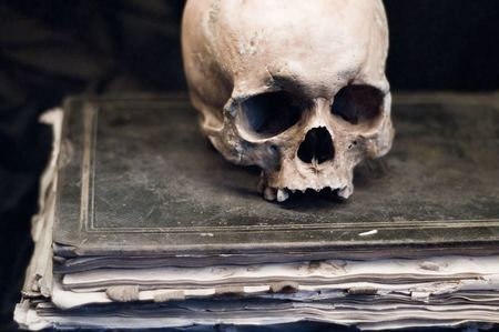 Skull on an old Book Stock Photo