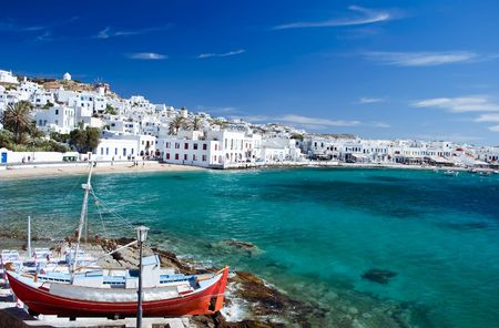 Beautiful Harbour of Mykonos Town, Greece Stock Photo