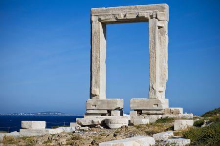 naxos: Portara, the Temple of Apollo in Naxos, Greece Stock Photo