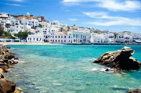 그리스의 유명한 섬 미코노스 (Mykonos), 해변가 스톡 콘텐츠