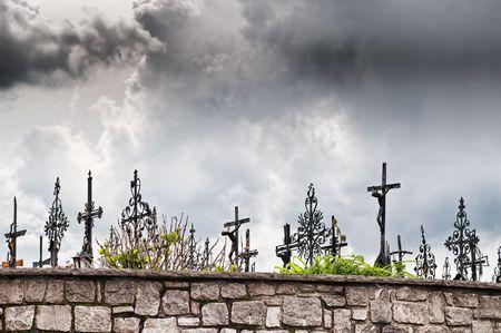 Graveyard with dark Clouds, taken in Austria photo