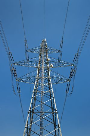 Power Supply Line against Blue Sky Stock Photo - 7274996