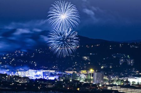 Firework in Linz, a capital City in Austria Stock Photo