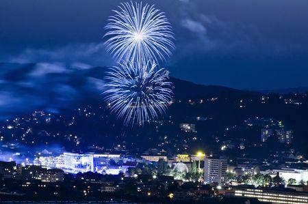 linz: Firework in Linz, a capital City in Austria Stock Photo