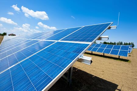 Green energy - solar panels in a meadow Stock Photo - 7295492