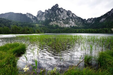 Rain on the Mountain Lake, called Laudachsee in Salzkammergut, Austria Stock Photo - 7453014