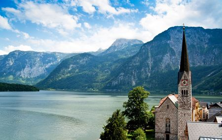 Church of Hallstatt with Lake and Mountain