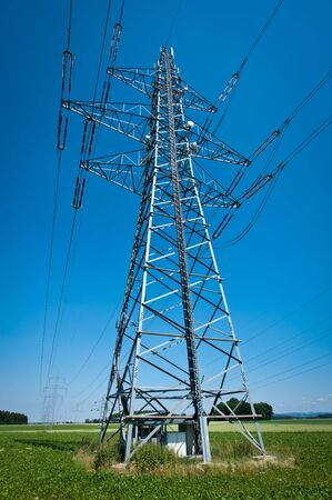 Power Line in a Summer Landscape with Blue Sky Stock Photo - 7488082