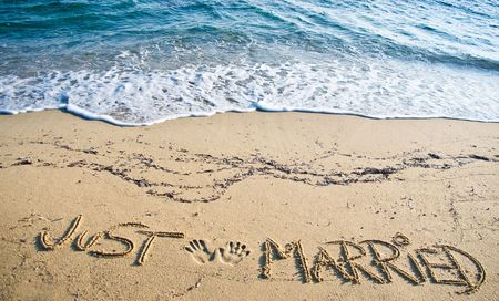 Just Married written in the Sand on the Beach Banque d'images