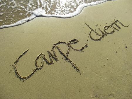 Carpe Diem written in the Sand with Wave