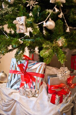 Silver Box under Christmas Tree Stock Photo - 8319460