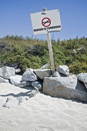 nudism: Information Sign against Nudism Stock Photo