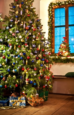 tree vertical: Rural decorated Christmas Tree taken in Austria