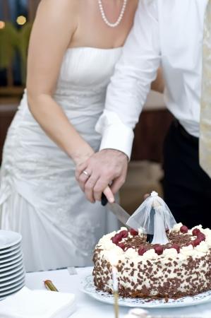 bruid en bruidegom samen hun wedding cake snijden