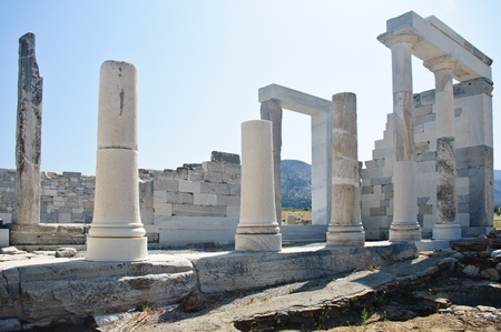 Antique Ruins and Columns in Delos, Greece Stock Photo - 9090030