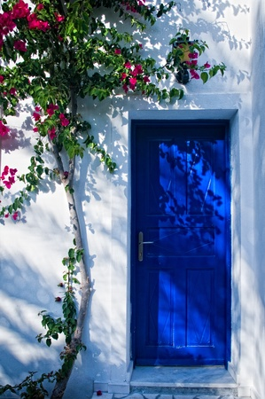 front entry: Blue door in greece with plant climbing on the wall Stock Photo