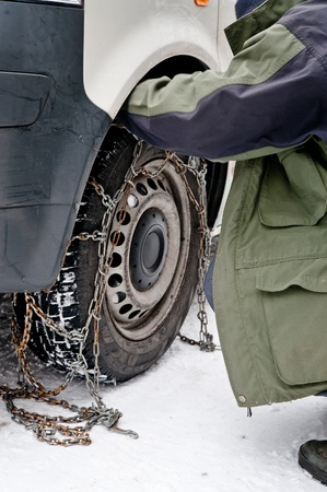 Fixing snow chain photo