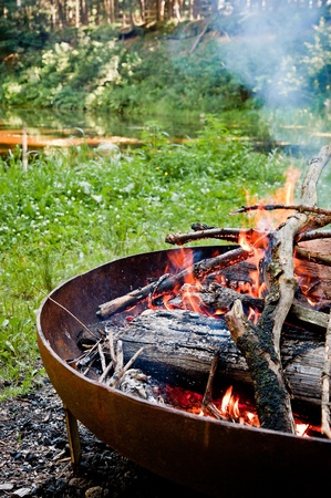 outdoor fireplace: Campfire in Wilderness