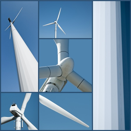 wind energy: Wind turbine in different and detailed views