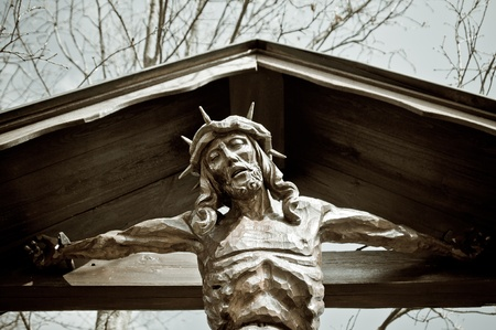 depiction: Carved wooden depiction of christ on a cross Stock Photo