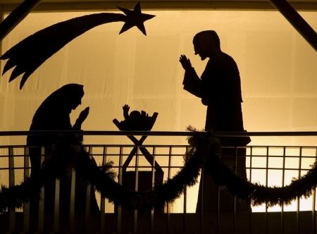 Silhouette of a Christmas Crib photo