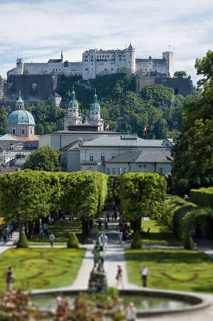 Park in Salzburg, in the Background Fortress Hohensalzburg photo