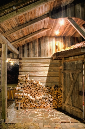 Wooden Barn at Night photo