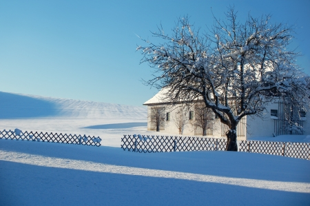 Farm in Winter Landscape photo