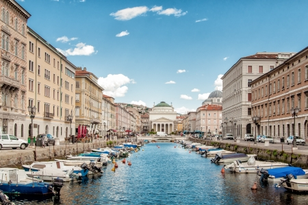 Canal Grande in Trieste, Italy Stock Photo