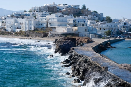Island of Naxos with the village of Chora photo