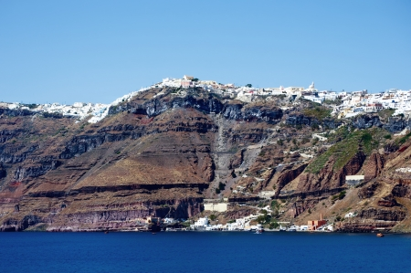 caldera: Coastline with Cliffs of Santorini Island, Greece Stock Photo