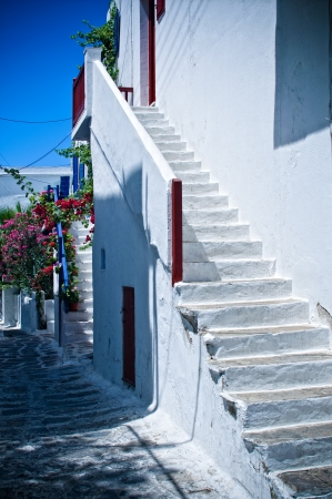 White steps leading to a House of Mykonos, Greece Stock Photo - 17967835