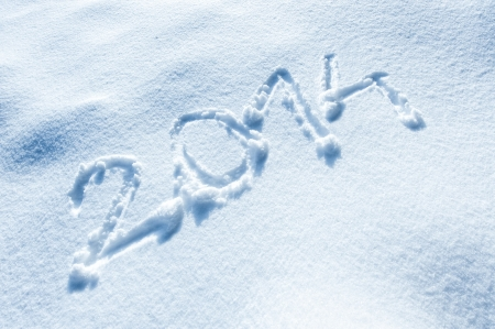 Year 2014 written in Snow