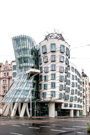 Modern Building called Dancing House in Prague, Czech Republic