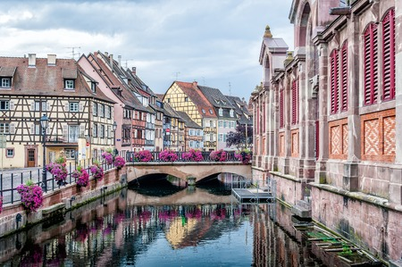 colmar: Nice Canal with historical Houses in Strasbourg, France