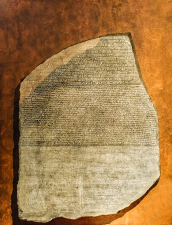 Replica of Rosetta Stone in Greek, Egyptian and demotic scripts