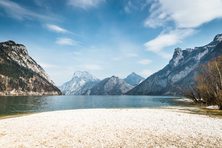 upper austria: Traunsee Lake with Mountain in the background in Upper Austria Stock Photo