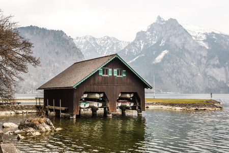 boathouse: Boathouse at lake Traunsee in Upper Austria
