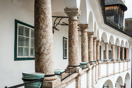 upper austria: Gallery with some columns in Castle Orth, Upper Austria