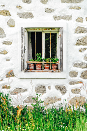 upper austria: Detail of a window of a typical farmhouse in muehlviertel, upper austria