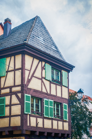 typical half timbered house in alsace, france photo
