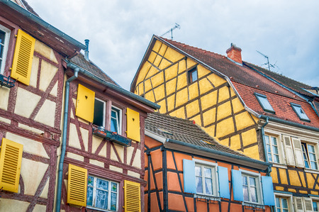 timbered: colorful half timbered houses in alsace, france Stock Photo