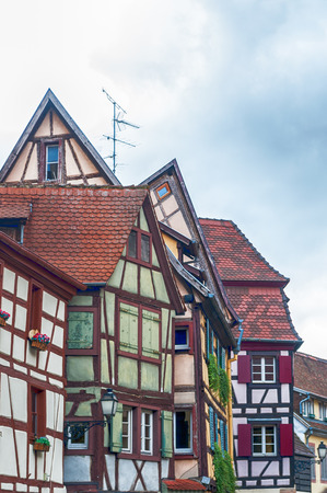 half  timbered: strange half timbered houses in alsace, france