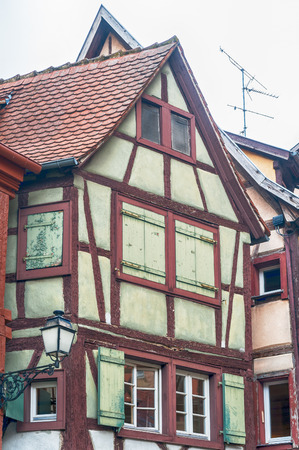half timbered: single half timbered house in alsace, france